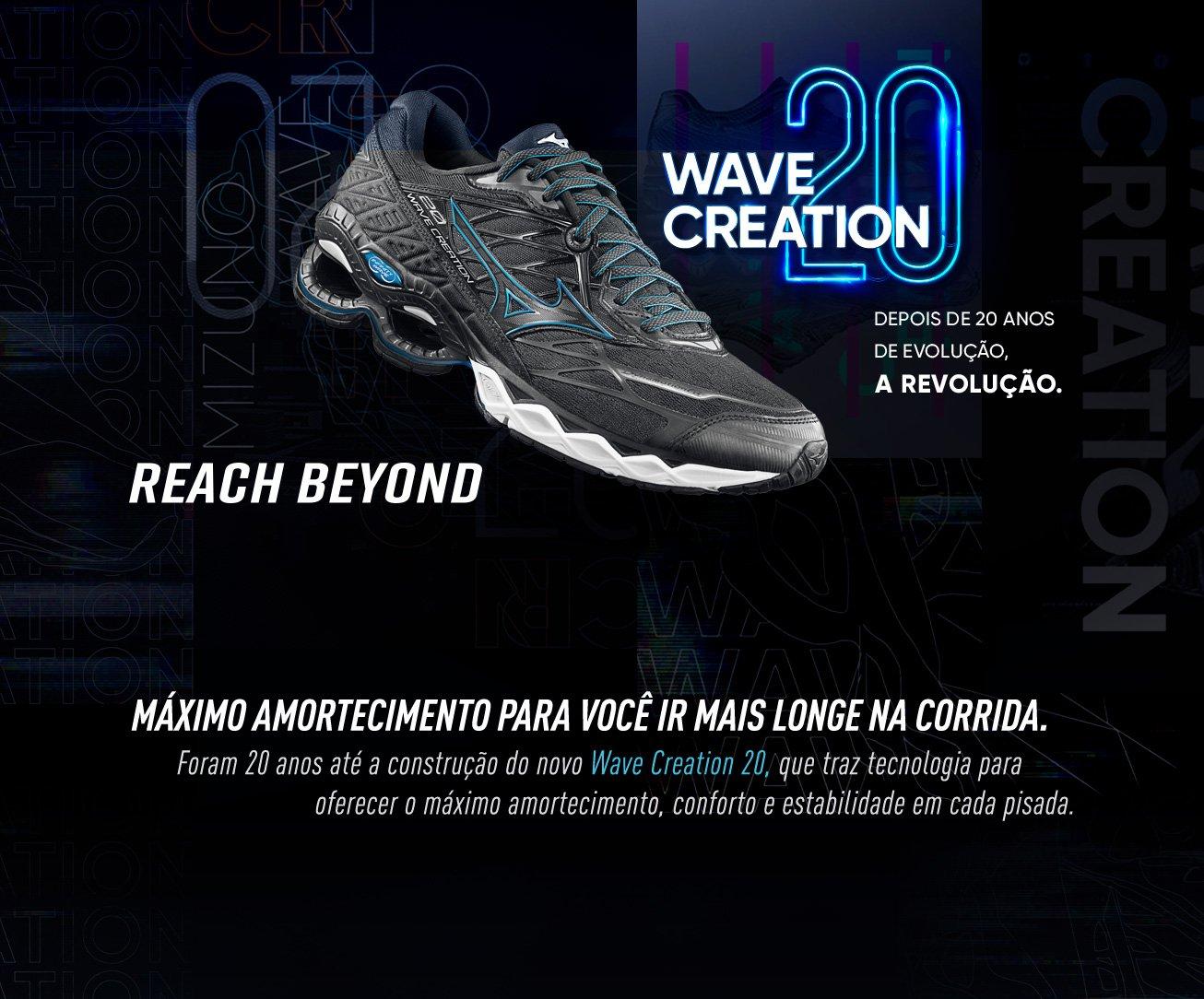 Tênis Mizuno Wave Creation 20 Feminino - Preto e Azul claro | Netshoes