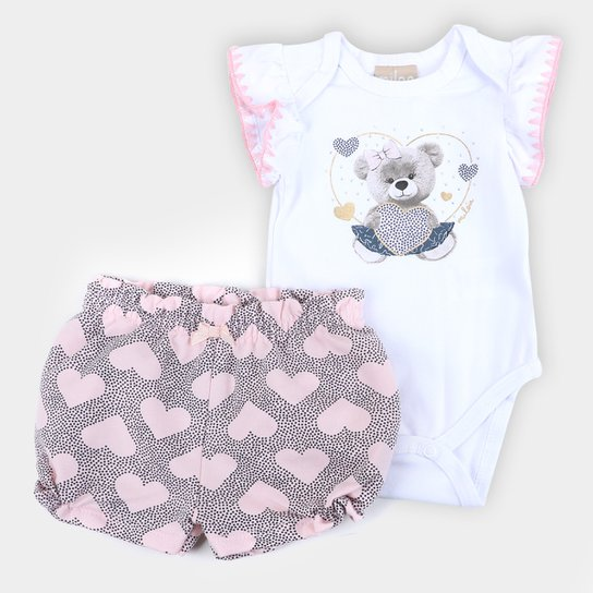 Conjunto Bebê Milon Body E Shorts Corações Feminino - Branco+Rosa