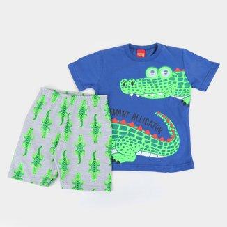 Conjunto Infantil Kyly Camiseta E Bermuda Moletom Alligator Masculino