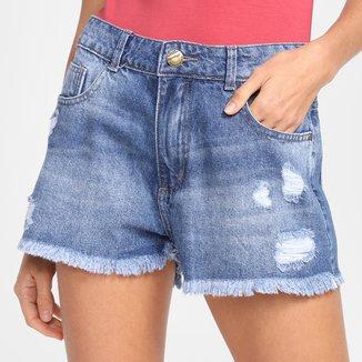 Shorts Jeans Sawary Boyfriend Barra Desfiada Feminino