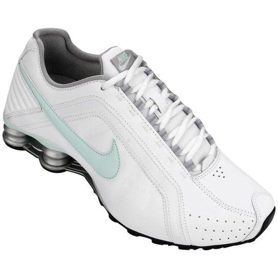 b4eba6d4081 Tênis Nike Shox Junior - Branco+Verde Água