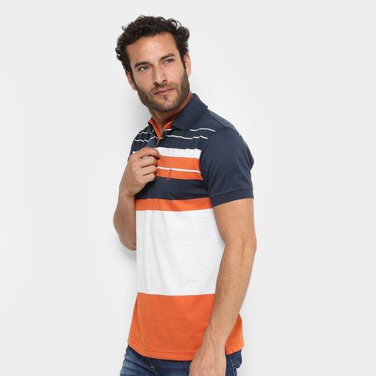 Camisa Polo Aleatory Malha Fio Tinto Listras Masculina - Marinho+Laranja bbbdec1b4e98d
