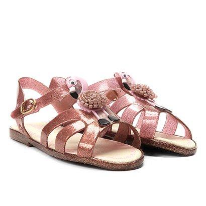 Sandália Infantil World Colors Verniz Aplique Flamingo Feminina