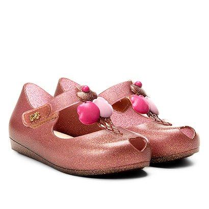 Sapatilha Infantil World Colors Fosca Velcro Aplique Sorvete Feminina