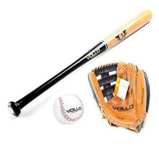 365c3719b Kit Taco Baseball Madeira Com Bola Cortiça E Luva