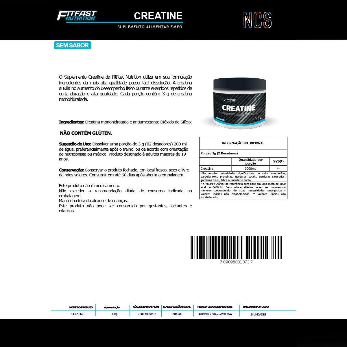 Creatina Pura 100G - Fitfast Nutrition - 1