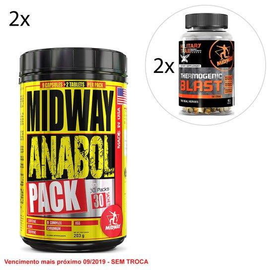 275f0d8bc Kit Midway 2x Anabol Pack USA 30 Pack + 2x Termogênico Military Trail Blast  90 Cáps
