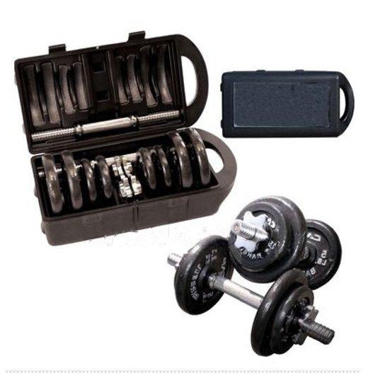 e068b62a5 Kit WCT Fitness Anilhas + Halteres na maleta 20kg - Cromado