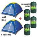 02 Barraca Camping Mor Iglu 4 Pessoas + 04 Colchonete FA Maringá Mont Long Casal