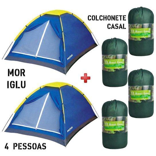 02 Barraca Camping Mor Iglu 4 Pessoas + 04 Colchonete FA Maringá Mont Long Casal - Azul