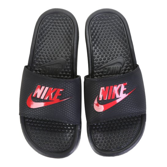 bec7a41e9483f0 Sandália Nike Benassi JDI Masculina - Preto e Vermelho | Netshoes
