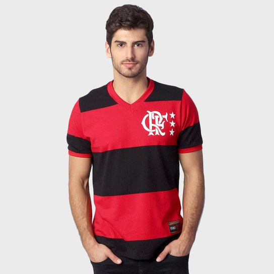 ea24e56f6d6 Camiseta Flamengo Retrô Libertadores - Preto e Vermelho - Compre ...