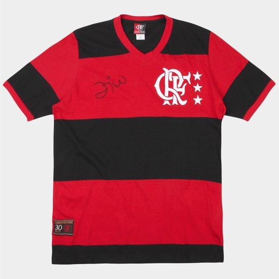 Camiseta Flamengo Retrô Zico Masculina - Preto e Vermelho - Compre ... 086bed3f20ff2