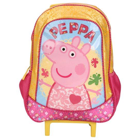 2ee9a297a Mochila Rodinhas Peppa Pig Infantil - Amarelo+Rosa