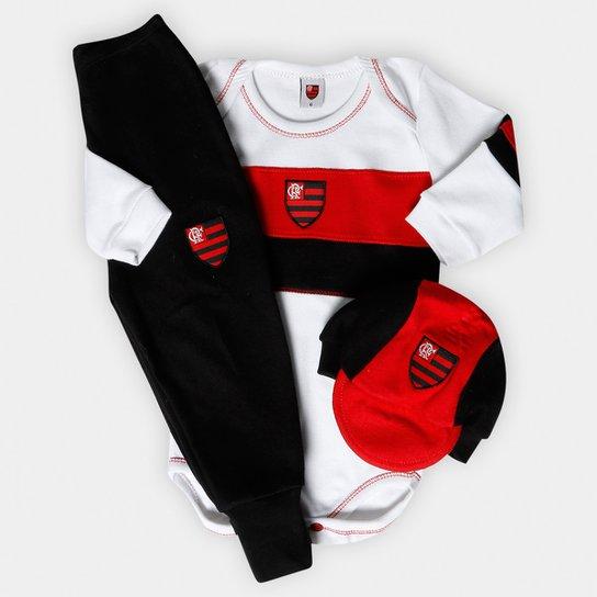 f974a17797 e69598e3ea0 Conjunto Flamengo Aulo com 3 peças Infantil - Preto e Branco .