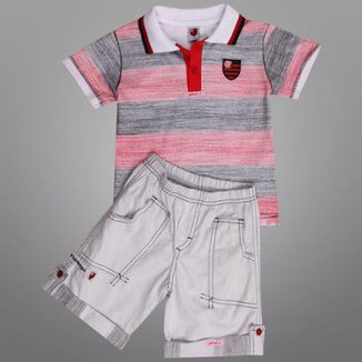 Conjunto Flamengo Camisa Polo e Bermuda Infantil 218dc6b6cdbda