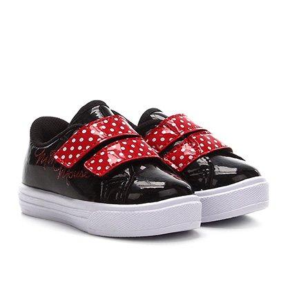Tênis Infantil Disney Sola Caixa Minnie Velcro E Poá