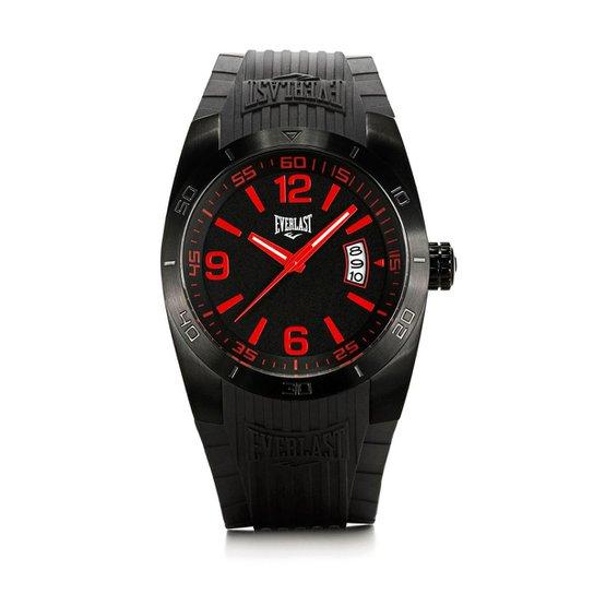 890777b5880 Relógio Pulso Masculino Everlast Pulseira Silicone Analógico -  Preto+Vermelho