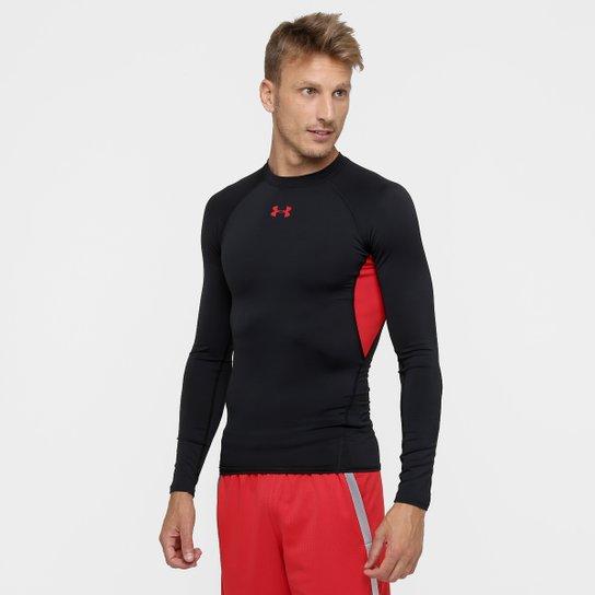 6488721a198 Camisa de Compressão Under Armour HG Manga Longa Masculina - Preto+Vermelho