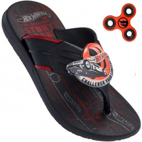 c0e04da3c5 Chinelo Infantil Hot Wheels Super Flop + Hand Spinner - Preto+Vermelho