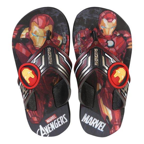 255778561 Chinelo Infantil Grendene Kids Estampa Avangers Homem De Ferro Masculino -  Preto+Vermelho