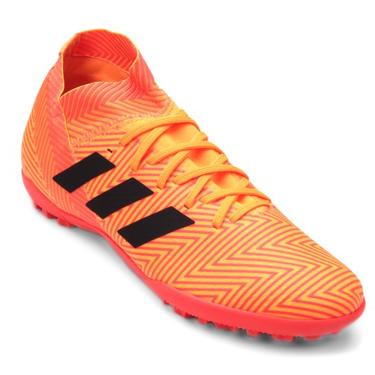 Chuteira Society Adidas Nemeziz Tango 18 3 TF - Laranja e Preto ... ace85b52f7ff4