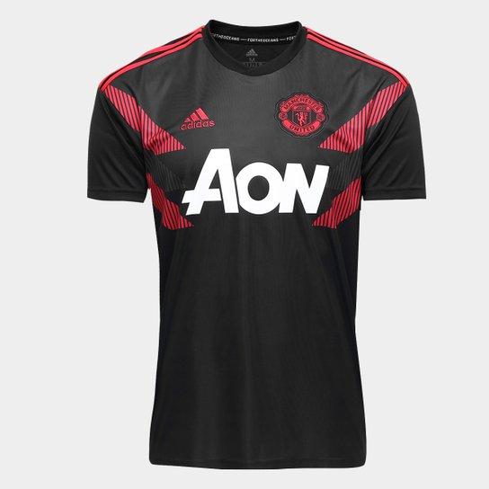 7d5ed2638f21a Camisa Manchester United Pré-Jogo 2018 Adidas Masculina - Preto+Vermelho