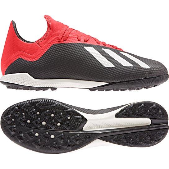 8288f1bbab4697  Chuteira Society Adidas X 18 3 TF Masculina - Preto e  Vermelho ... e296a44b6ce202 ... 4932dc8b3007e