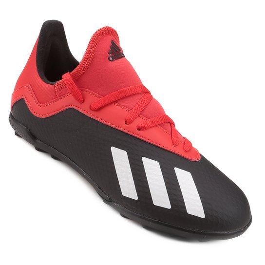 00bb2a51283 Chuteira Society Infantil Adidas X 18 3 TF - Preto e Vermelho ...