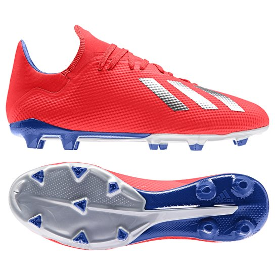 Chuteira Campo Adidas X 18 3 FG - Vermelho e Prata - Compre Agora ... 584c70afb5af2