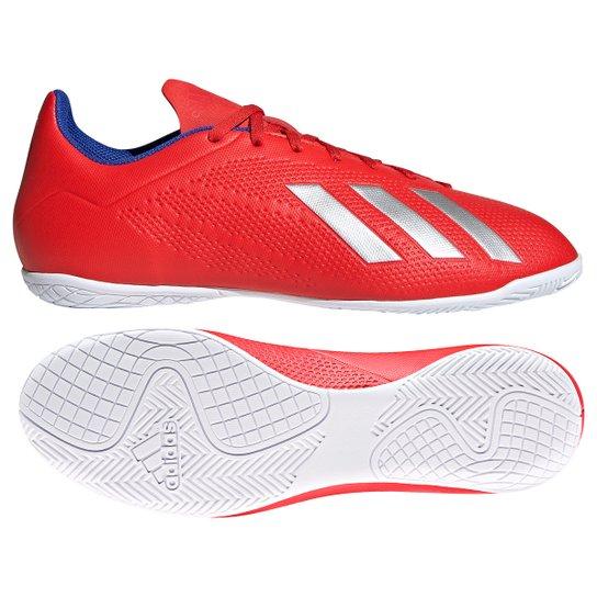 d14d1805a1a Chuteira Futsal Adidas X 18 4 IN - Vermelho e Prata - Compre Agora ...