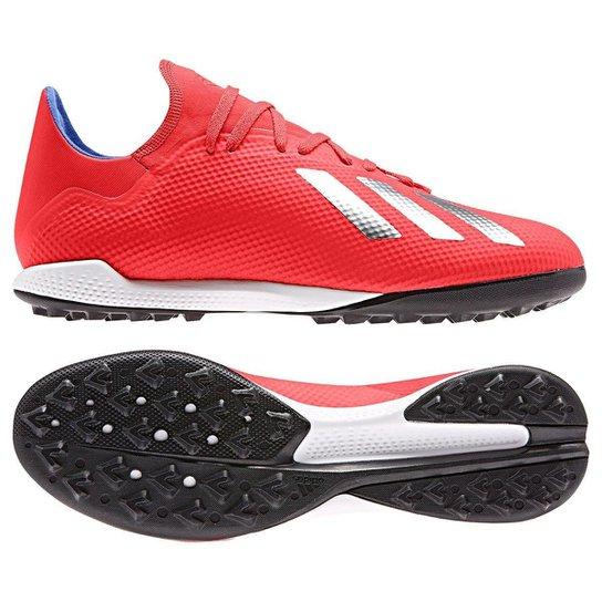 Chuteira Society Adidas X 18 3 TF - Vermelho e Prata - Compre Agora ... bbddfe53bfbe2