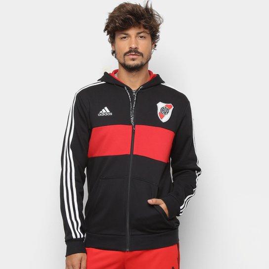 fc516bc148e72 Jaqueta River Plate Adidas Torcedor Capuz Masculina - Preto+Vermelho