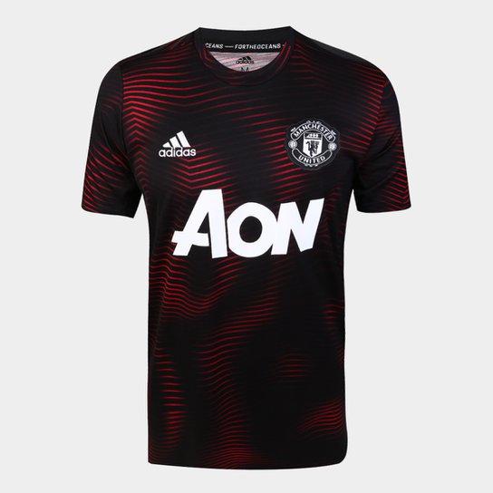 0c2e0accd2 Camisa Manchester United Pré-Jogo 19/20 Adidas Masculina - Preto+Vermelho