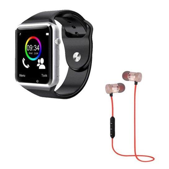13f50141208 Kit DAGG Relógio Smartwatch e Fone XT-6 Bluetooth Sport Sem Fio - Preto+