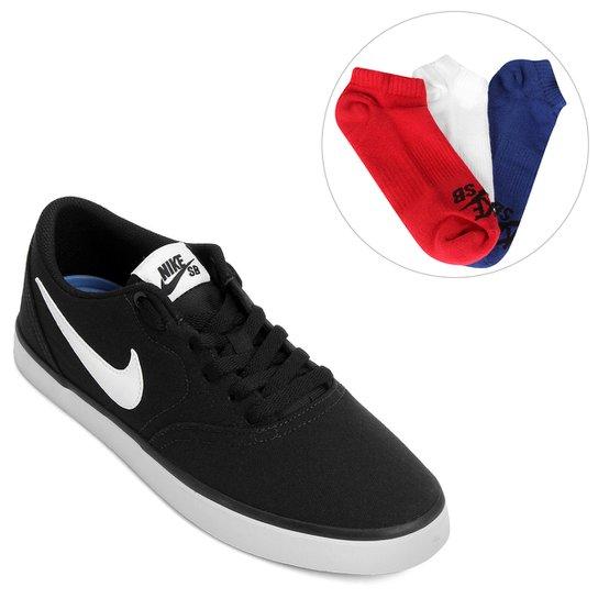 Kit Tênis Nike Sb Check Solar Cnvs + Pack Meia Nike Cano Baixo SB 3 Pares 7e2a4d9113c