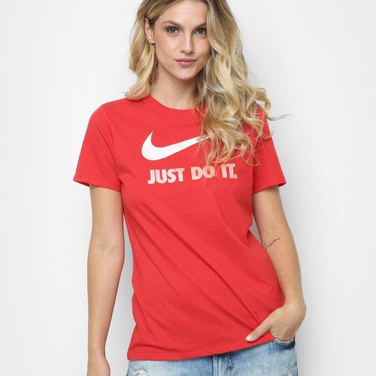 e974bea34d Camiseta Nike Crew Jdi Swsh Hbr Feminina - Preto+Vermelho