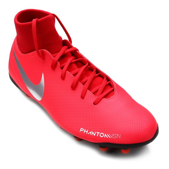 4e9c2ebf07 Chuteira Campo Nike Phantom Vision Club FG - Vermelho e Prata
