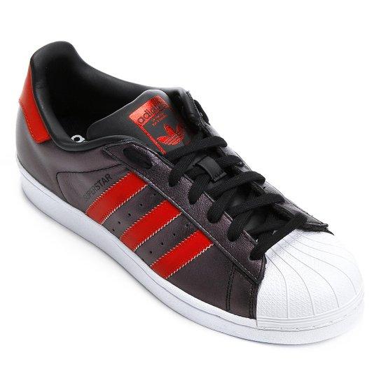 Tênis Adidas Superstar - Preto+Vermelho 40424d56d9ad4