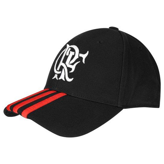 Boné Flamengo 3S Adidas Aba Curva - Preto+Vermelho 0ebc68ca7cf