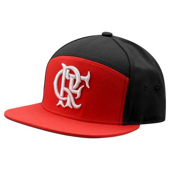Boné Adidas Flamengo Aba Reta Hino - Preto+Vermelho 5d881db1e05