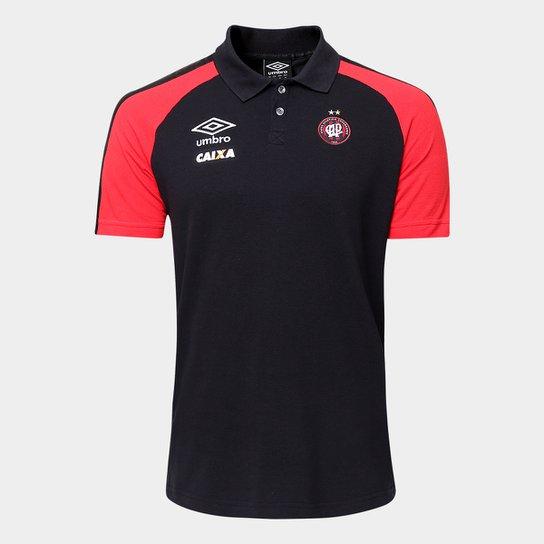 6b2d3c1b75 Camisa Polo Athletico-PR Umbro Viagem 17 18 Masculina - Preto+Vermelho