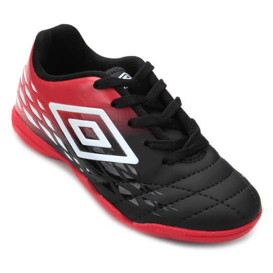 ad139fbc5a Chuteira Futsal Infantil Umbro Fifty II - Preto e Vermelho - Compre ...