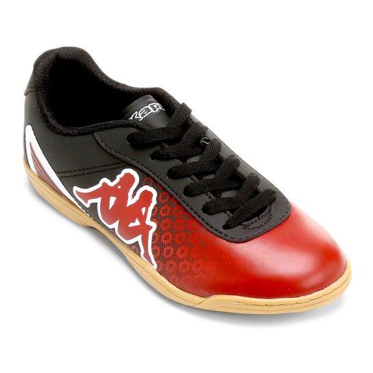 Chuteira Futsal Infantil Kappa Fiumicino - Preto+Vermelho 2dd767ce2ca1f