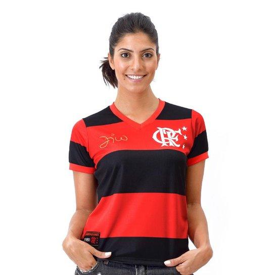 cfd44590ca Camisa Flamengo Retrô Zico Libertadores DRY Feminina - Preto+Vermelho