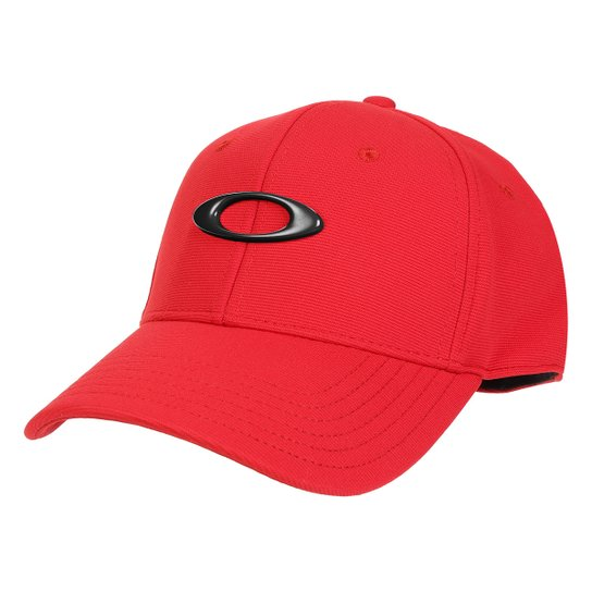 Boné Oakley Aba Curva Tincan Masculino - Preto e Vermelho - Compre ... f1ec053c767