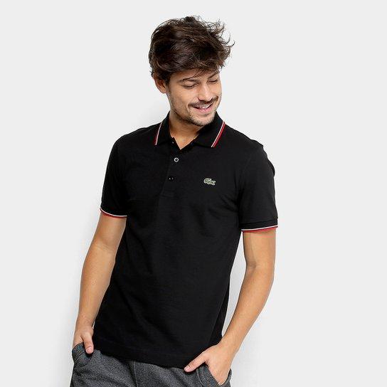 d4765c1664c Camisa Polo Lacoste Frisos Masculina - Preto e Vermelho - Compre ...