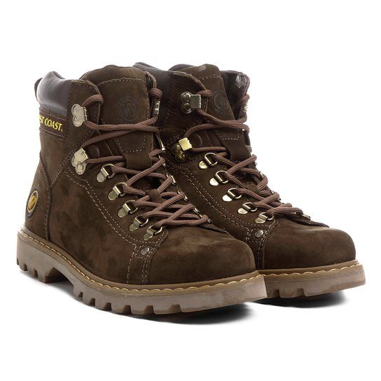cf4fe202efb Bota Couro Coturno Cano Curto West Coast Worker Masculina - Marrom+Bege