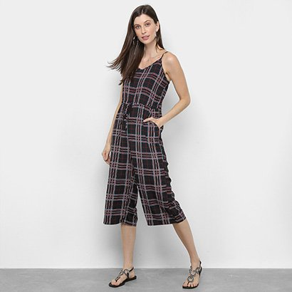 Macacão Lily Fashion Pantacourt Xadrez Feminino