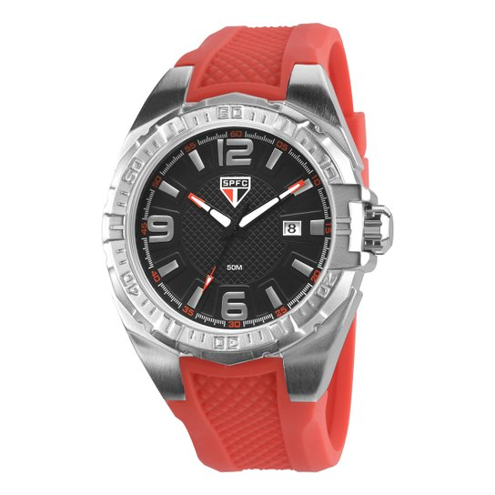 Relógio São Paulo Technos Analógico III Calendário - Vermelho e ... 9f54cd9f2d9ad